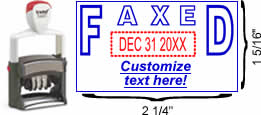 "Buy a ""FAXED"" custom date stamp with rotating month, date and year bands. Self-inking stamp with space for customizable text below date."