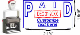 "Outlined ""Paid"" Formatted Self-Inking Date Stamp"