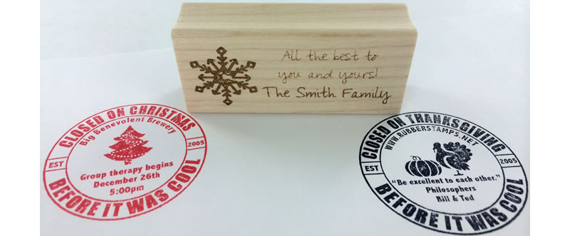 Choose from a variety of customizable Christmas rubber stamps