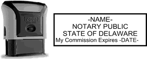 Self-Inking Delaware Notary Stamp with Impression Sample