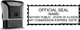 Self-Inking Illinois Notary Stamp with Impression Sample
