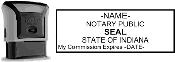 Self-Inking Indiana Notary Stamp with Impression Sample