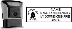 Self-Inking Iowa Notary Stamp with Impression Sample
