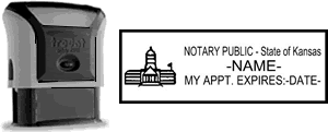 Self-Inking Kansas Notary Stamp with Impression Sample