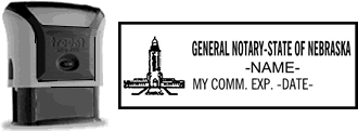 Self-Inking Nebraska Notary Stamp with Impression Sample