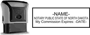 Self-Inking North Dakota Notary Stamp with Impression Sample