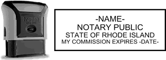 Self-Inking Rhode Island Notary Stamp with Impression Sample