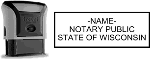 Self-Inking Wisconsin Notary Stamp with Impression Sample