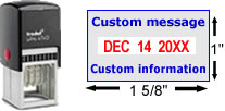 Buy a Trodat 4750 date stamp with rotating bands for month, date and year.  Self-inking stamp with date in red, customizable text in blue.