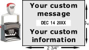 Buy a Trodat 5480 self-inking date stamp with rotating bands for month, date, and year.  Add your own custom text or upload a logo.