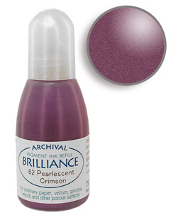 Order a 1/2 oz. bottle of refill ink for a Brilliance Metallic crimson stamp pad.