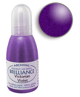 Order a 1/2 oz. bottle of refill ink for a Brilliance Metallic Victorian Violet stamp pad.