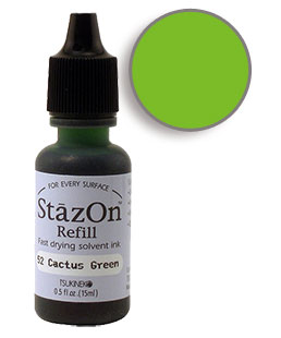 Buy a 1/2 oz. bottle of quick-drying, solvent-based refill ink for a cactus green StazOn stamp pad.