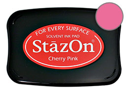 Buy a cherry pink StazOn stamp pad, which features a permanent, quick-drying ink designed for non-porous surfaces.