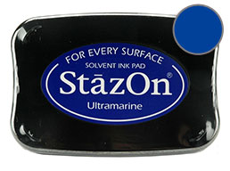 Buy a blue StazOn stamp pad, which features a permanent, quick-drying ink designed for non-porous surfaces.
