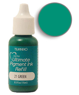 Buy a 1/2 oz. bottle of vibrant pigment-based refill ink for a green Versacolor stamp pad.