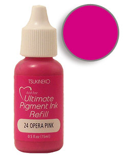 Buy a 1/2 oz. bottle of vibrant pigment-based refill ink for a opera pink Versacolor stamp pad.