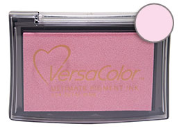 Purchase a vibrant petal pink Versacolor stamp pad.  Non-toxic, water-soluble pigment ink.  Measures 2 3/8 inches by 3 3/4 inches.