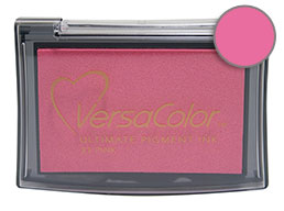 Purchase a vibrant pink Versacolor stamp pad.  Non-toxic, water-soluble pigment ink.  Measures 2 3/8 inches by 3 3/4 inches.