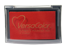 Purchase a vibrant scarlet Versacolor stamp pad.  Non-toxic, water-soluble pigment ink.  Measures 2 3/8 inches by 3 3/4 inches.
