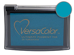 Purchase a turquoise Versacolor stamp pad.  Non-toxic, water-soluble pigment ink.  Measures 2 3/8 inches by 3 3/4 inches.
