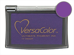 Purchase a vibrant violet Versacolor stamp pad.  Non-toxic, water-soluble pigment ink.  Measures 2 3/8 inches by 3 3/4 inches.