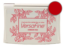 Purchase a vibrant crimson red Versafine stamp pad.  Non-toxic, water-soluble pigment ink.  Measures 2 3/8 inches by 3 3/4 inches.
