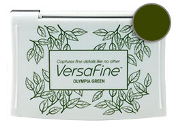 Purchase a vibrant olympia green Versafine stamp pad.  Non-toxic, water-soluble pigment ink.  Measures 2 3/8 inches by 3 3/4 inches.
