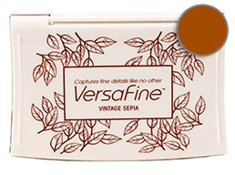 Purchase a vibrant vintage sepia Versafine stamp pad.  Non-toxic, water-soluble pigment ink.  Measures 2 3/8 inches by 3 3/4 inches.