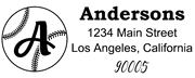 Baseball Outline Script Monogram Return Address Stamp Sample