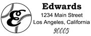 Baseball Outline Script Letter E Monogram Stamp Sample