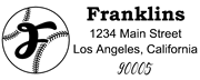 Baseball Outline Script Letter F Monogram Stamp Sample