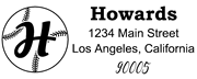 Baseball Outline Script Letter H Monogram Stamp Sample