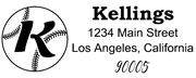 Baseball Outline Script Letter K Monogram Stamp Sample