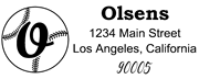 Baseball Outline Script Letter O Monogram Stamp Sample