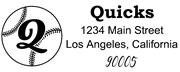 Baseball Outline Script Letter Q Monogram Stamp Sample