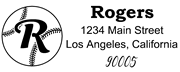 Baseball Outline Script Letter R Monogram Stamp Sample