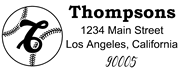 Baseball Outline Script Letter T Monogram Stamp Sample