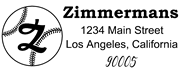 Baseball Outline Script Letter Z Monogram Stamp Sample