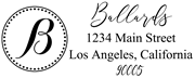 Solid Line and Dot Border Letter B Monogram Stamp Sample