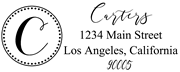 Solid Line and Dot Border Letter C Monogram Stamp Sample