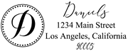 Solid Line and Dot Border Letter D Monogram Stamp Sample