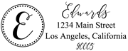 Solid Line and Dot Border Letter E Monogram Stamp Sample