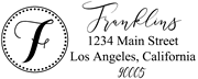 Solid Line and Dot Border Letter F Monogram Stamp Sample