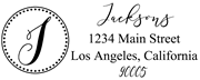 Solid Line and Dot Border Letter J Monogram Stamp Sample