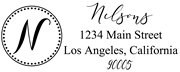 Solid Line and Dot Border Letter N Monogram Stamp Sample