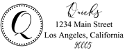 Solid Line and Dot Border Letter Q Monogram Stamp Sample
