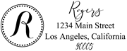 Solid Line and Dot Border Letter R Monogram Stamp Sample