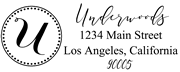 Solid Line and Dot Border Letter U Monogram Stamp Sample