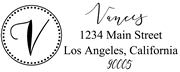 Solid Line and Dot Border Letter V Monogram Stamp Sample